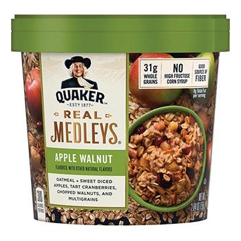 Quaker Real Medleys Instant Oatmeal Apple Walnut 2.64oz thumbnail
